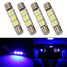 4 x Blue 28mm 3SMD T6 6641 LED Bulbs Sun Visor Vanity Mirror Fuse Lights + TOOL