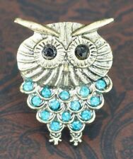 Adjustable Owl Ring Blue Rhinestone Crystals Ladies Owl Jewelry Gifts for Her
