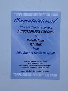 2021 Topps Allen & Ginter Michelle Akers Full Size Auto Redemption Soccer