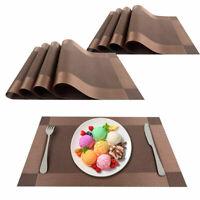 """Placemats Heat-Resistant PVC Table Mats Woven Vinyl Placemats, Set of 8, 18""""x12"""""""