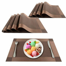 "Placemats Heat-Resistant PVC Table Mats Woven Vinyl Placemats, Set of 8, 18""x12"""