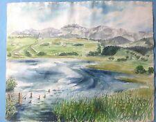 5v7:Impressionismus Aquarell Gemälde Donau Wachau Österreich Gisela Weihmann ~44
