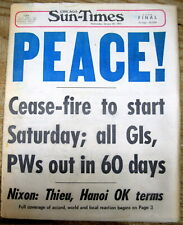 1973 Chicago hdlne newspaper PEACE Vietnam War End starts & POWs to be released