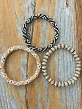 3 SET Nepal Rolls Glass Beaded bracelet crochet handmade bead bangle USA Exact