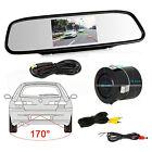"""4.3"""" LCD Car Rear View Mirror Monitor + Car Rear View Reverse Backup Camera Kit"""