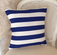 Blue And White Striped 16 X 16 Inch Cushion Cover, Nautical, Deck Chair, Seaside