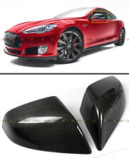 FOR 2012-17 TESLA MODEL S DIRECT ADD-ON REAL CARBON FIBER SIDE MIRROR COVERS CAP