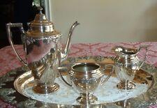 3 PIECES SILVER PLATED COFFEE / TEA SET, POT, SUGAR & CREAMER,  GRAPES