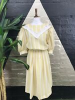 Original Vintage 1980S Yellow And White Striped Midi Dress With Big Collar