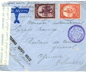 BELGIAN CONGO WW2 Cover BELGE & EGYPT CENSORS 1941 Switzerland Red Cross FC115