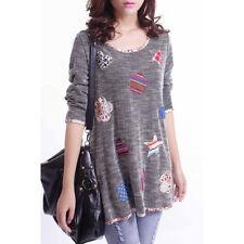 Plus Size Women Long Sleeve Shirt Casual Blouse Loose Cotton Tops Lady T Shirt