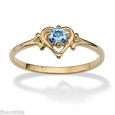 WOMENS 14K GOLD GP BIRTHSTONE AQUAMARINE HEART SHAPE RING SIZE GP 5 6 7 8 9 10