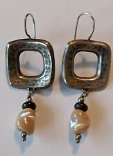 Silpada W1518 Sterling Mother of Pearl Bronzite Square Dangle Earrings