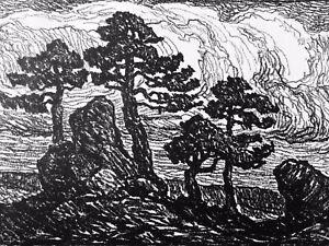 Birger Sandzen Pines at Sunset