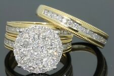 18K Yellow Gold Plated White Sapphire Ring Set Fashion Women Wedding Jewelry New