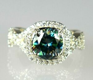AAA Quality Green Diamond Solitaire Halo 5.39 Ct Round Ring 925 Sterling Silver