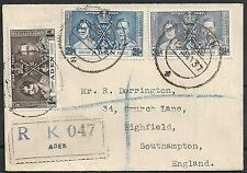 Aden 1937 R-cover to Southampton