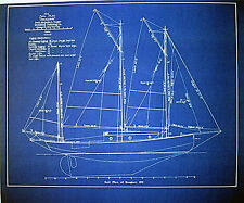 "Vintage Sailboat 1913 Blueprint Plan Drawing 19""x24"" (276)"