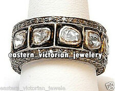 Artdeco Estate 4.40ct Real Rose Antique Cut Diamond Silver Eternity Ring Jewelry