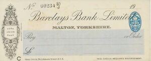 GB OLD CHECKS 1928 Barclays Bank Ltd., MALTON, Yorkshire; Blanko-Scheck RR!!