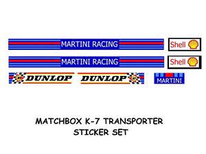 MATCHBOX SUPERKINGS K-7 TRUCK STICKER SET MARTINI