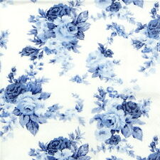 4x Paper Napkins for Decoupage Party, Craft - Antoinette Roses Blue-