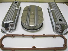 Ford 289 302 351W Finned Aluminum Valve Covers + Air Cleaner + Gaskets Kit