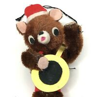 Vintage Banjo Bear Christmas Ornament Musical Teddy Chenille Felt Kitsch