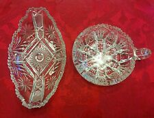 Set of 2 Fine Clear Crystal Cut Glass Candy Bowls/Dishes Starburst Pattern