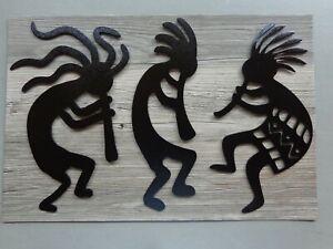 "Set of 3 Small Kokopelli Musicians Metal Wall Art 11"" T Black Textured Finish"