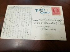 Vintage Post Card With A stamp Of Cuba Traveling To USA .(p7)
