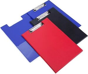 Foldover PVC A4 Clipboards - Black, Blue & Red, Filing Clip Board Free P&P