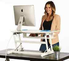 WHITE Standing Desk - Height Adjustable Dual Monitor Desktop Converter - Standup