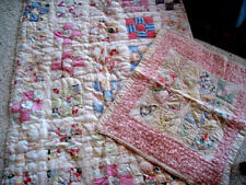 """Vintage 9 Patch Squares ~Handmade Baby Quilt & Doll Blanket """"as found"""""""