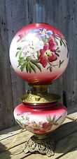 Antique Red GWTW Electrified Oil Lamp, Hand Painted Lily Flowers on Base & Globe