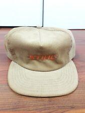 Vintage Stihl Chainsaw Snapback Hat Cap USA Corduroy beige