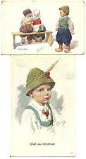 Holland Postcards  Boy Jealous Kissing Couple & Whistling Vintage Pair Feiertag