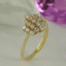 Echtschmuck im Cluster-Stil aus Gelbgold mit VS Reinheit Ringe für Damen