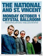 The National/St. Vincent 2007 Portland Concert Tour Poster-Indie/Alt. Rock Music