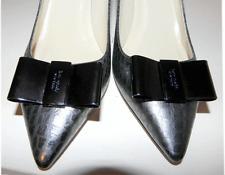 "KATE SPADE ""Janice"" Snake  Metalic Silver Pointed Toe Bow Pump Shoe 7- 6.5"