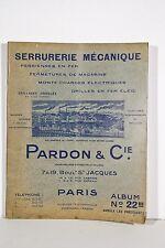 Catalogue Publicitaire illustré PARDON &Cie Paris Serrurerie Magasin Restaurant