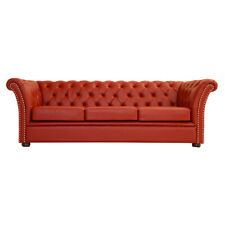 Red Faux Leather Chesterfield Genuine Leather Wooden Sofa 3 Seater