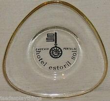 "Hotel Estoril Sol Ashtray Ash Tray Cascais Portugal Glass 4.5"" Gold Trim"