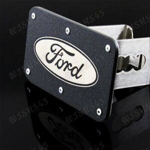 """For Ford Rugged Black Stainless Steel Hitch Cover 2"""" Trailer Tow Towing Receiver"""