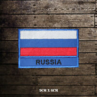Russia National Flag With Name Embroidered Iron On Sew On Patch Badge