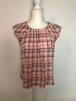 Lauren Conrad Womens Tank Top Blouse Size S Pink Navy Plaid Pleated Sleeveless