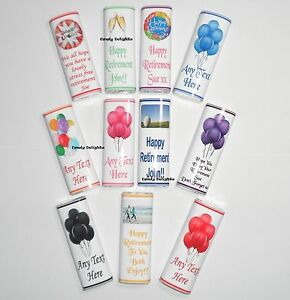 20 Personalised Retirement Chocolate Bar WRAPPERS  Favours, Posted 1st Class