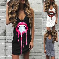 ❤️ Womens V Neck Sleeveless Mini Dress Summer Beach Casual Tank T Shirt Sundress