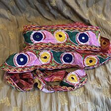 Vintage Embroidered Border Circle Pink Indian Crafts Decorating Ribbon 1YD Sari