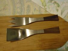 Stainless Serving UTENSILS with Wooden HANDLES Spoon and FORK